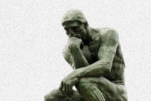 Il pensatore di Rodin (modificato)