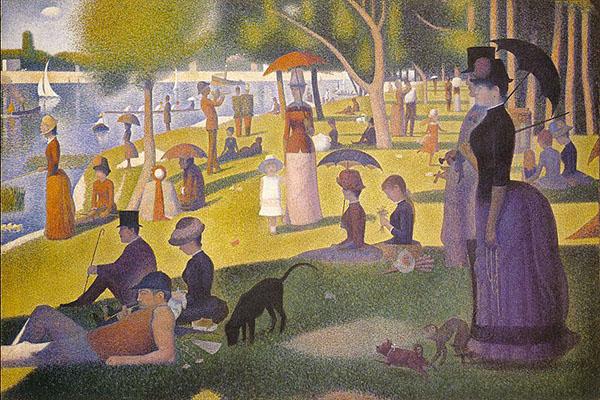 George Seurat, Una domenica pomeriggio sull'isola de La Grande Jatte, 1883-1885, The Art Institute (Chicago)