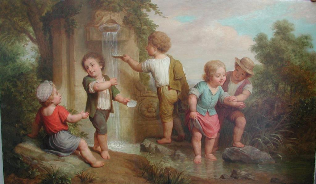 Bambini alla fontana,  Scuola francese, Fine XVIII secolo. Fonte
