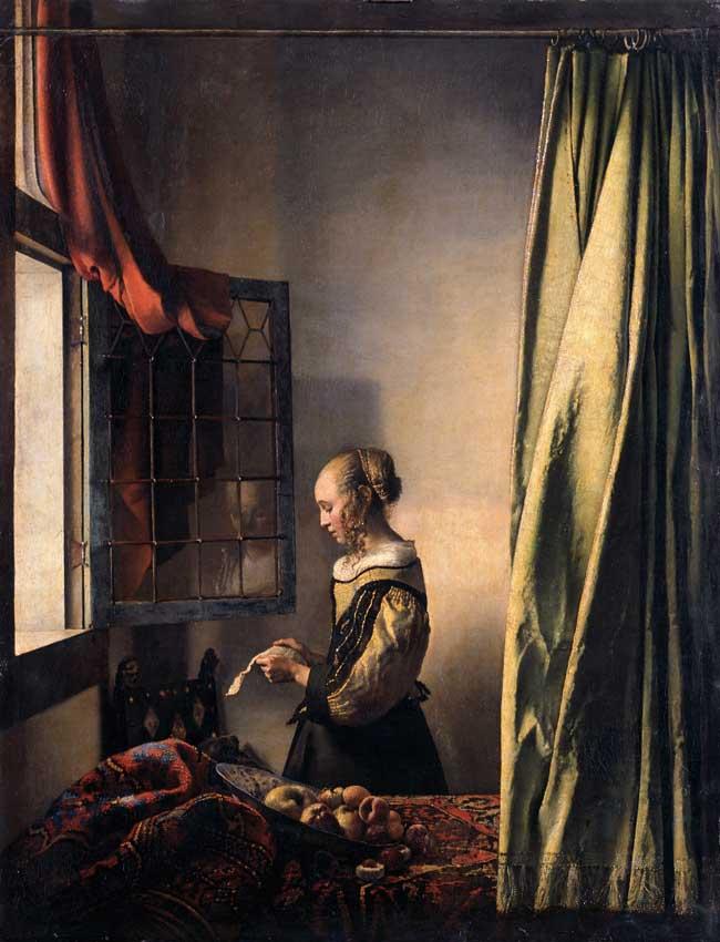 Jan Vermeer, Ragazza che legge una lettera alla finestra aperta, 1657 circa, Gemäldegalerie, Dresda.