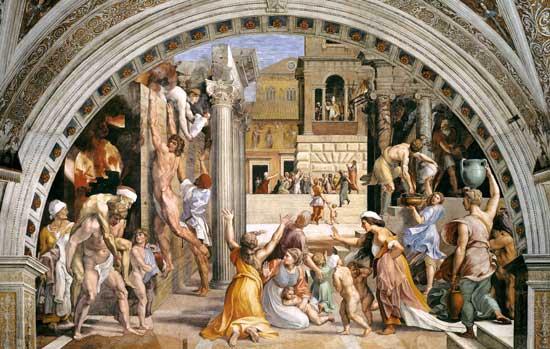 Raffaello Sanzio, Incendio di Borgo, Musei Vaticani, Città del Vaticano, 1514.